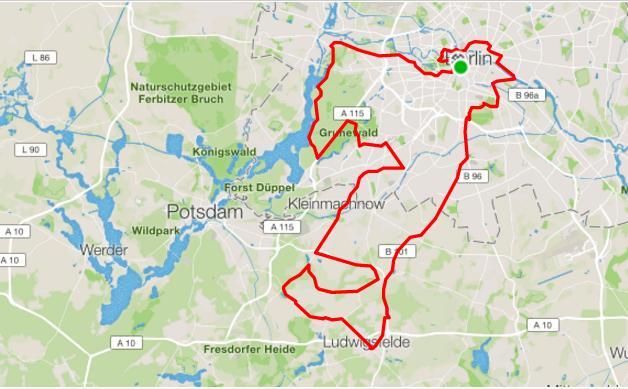 Kartenausschnitt von der Velothon 120km Strecke